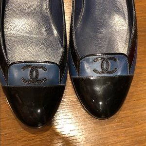 Worn once, chanel navy and black patent loafers